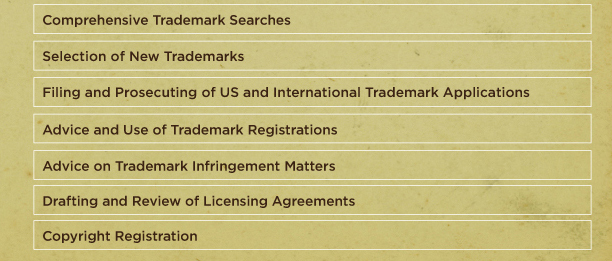 Comprehensive Trademark Services. Selection of New Trademarks. Filing and Prosecuting of US and International Trademark Applicatiions. Adivce on Use of Trademark Registrations. Advice on Trademark Infringement Matters. Drafting and Review of Licensing Agreements. Copyright Registration.